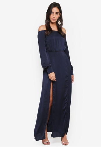 MISSGUIDED navy Bardot Satin Front Split Maxi Dress 5DCC9AA6E2A54EGS_1