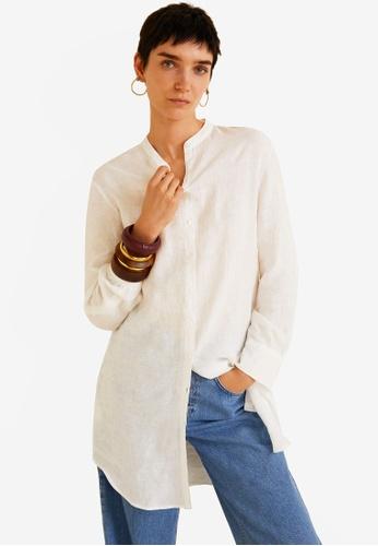 Mango white Mao Collar Linen Shirt 747F2AA5BE3BE6GS_1