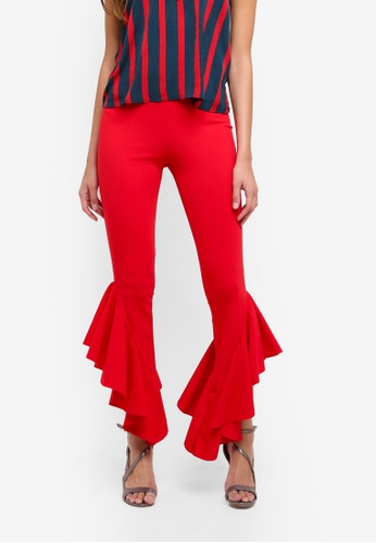 MISSGUIDED red Asymmetric Ruffle Side Cigarette Trousers FA8D3AAE51AF29GS_1