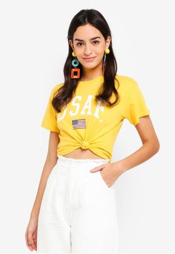 TOPSHOP yellow Usaf Awkward Crop T-Shirt 2AE34AA98E96B0GS_1