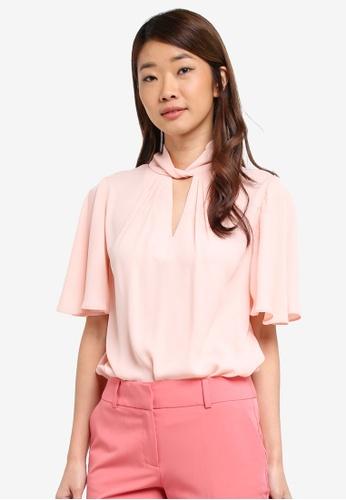 Dorothy Perkins pink Blush Twist Neck Flutter Top 1FFA5AAC8C2F82GS_1