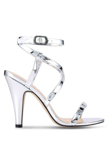 ZALORA 銀色 露趾繞踝高跟鞋 68E08SHCA10921GS_1