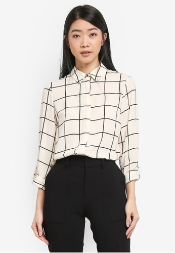 Dorothy Perkins multi Cream Grid Tab Roll Sleeve Shirt 42855AA1F25179GS_1