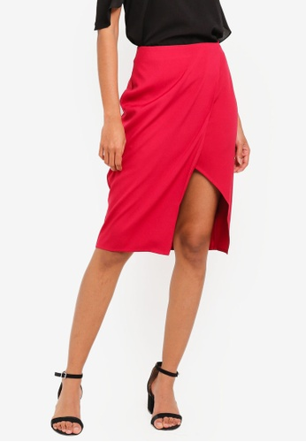 ZALORA BASICS red Basic Wrap Slit Skirt AD683AA82F0004GS_1
