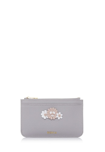 BONIA grey Light Grey Botanica Zipper Wallet D21BCACFE29B7DGS_1