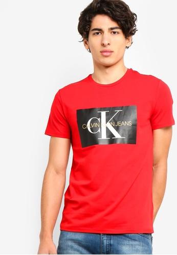 Calvin Klein 紅色 短袖LOGO修身T恤 C0310AAA778CF5GS_1