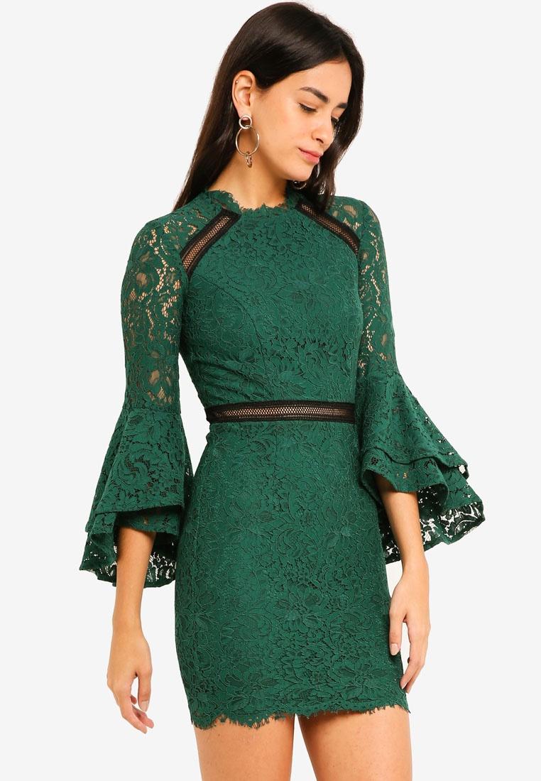 8ec6c5b52c37 Green Ruffle Jade Bardot Lace Sleeved Dress cCx6TqHaw-klausecares.com