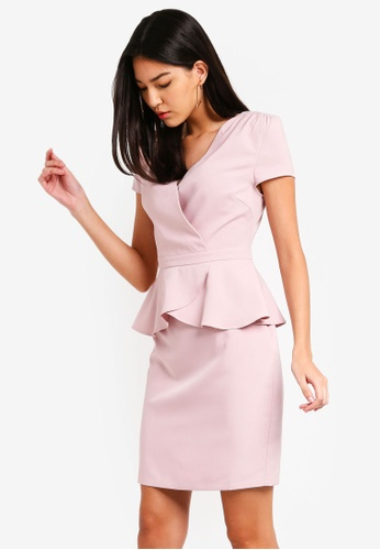ZALORA pink Short Sleeves Wrap Peplum Dress F69A2AA21D7938GS_1