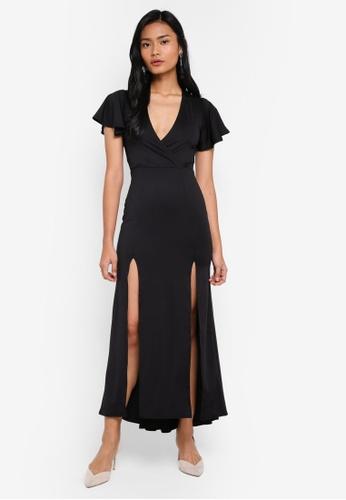 Miss Selfridge black Petite Jersey Prom Maxi Dress D175BAA06CA266GS_1