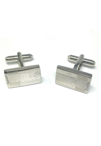 Splice Cufflinks silver Silver Patterned Rectangular Cufflinks SP744AC67FRCSG_1