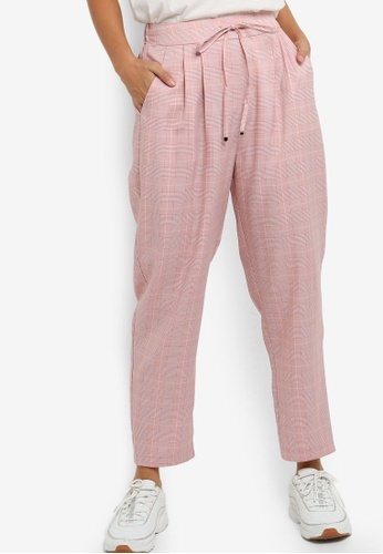 Something Borrowed 粉紅色 Pleated Straight Leg Pants E5FBEAA603E71CGS_1