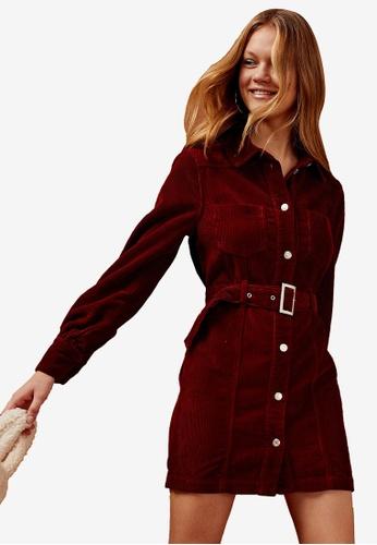 TOPSHOP brown Rust Corduroy Denim Shirt Dress E2F05AA43F7DFAGS_1