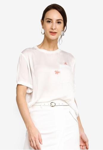 Hopeshow white Chiffon T-Shirt with Goldfish Embroidery CB66CAA15E816FGS_1