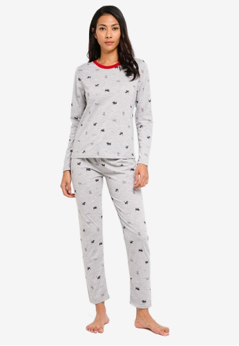 UniqTee grey Kitten Graphic Pajama Set D7600AA11E6480GS_1