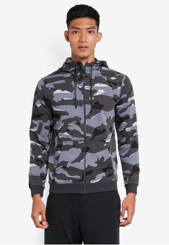 Nike grey and white Men's Nike Camo Full-Zip Hoodie 6D58BAA8FD0A05GS_1