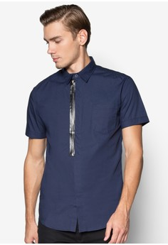 Open End Zipper Short Sleeve Shirt