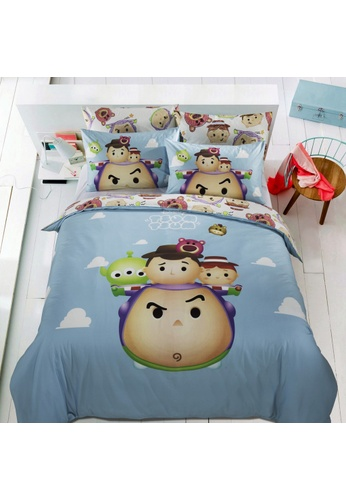 Eurotex Disney Tsum Tsum, 100% Cotton Sateen 700 Thread Count, Fitted Bedsheet Set - Up We Go A. DABDDHLD0DBB0AGS_1