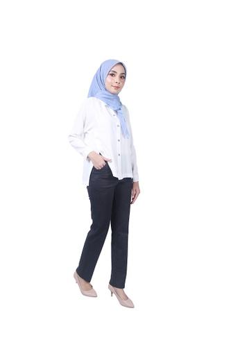 Ladies Jeans blue Semi Formal Stretchable Waist Long Pant 032C0AA4F5B693GS_1
