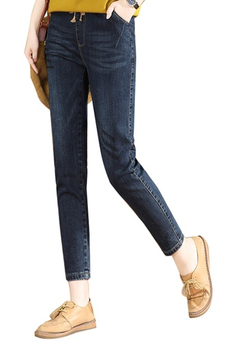 A-IN GIRLS navy Elastic Waist Warm Jeans (Plus Cashmere) 06233AA9469E28GS_1