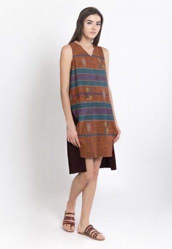 WARANGKA BATIK Halley Pleated Dress In Brick