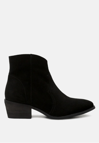 Rag & CO. black Stack Heel Ankle Boots D059ASH3FDAA53GS_1