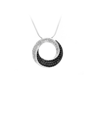 Glamorousky silver 925 Sterling Silver Round Pendant with White and Black Cubic Zircon and Necklace F5E20AC06EA093GS_1