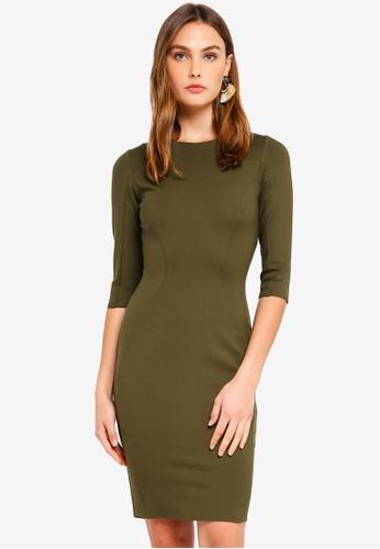 CLOSET 綠色 長袖拼接Body-Con 洋裝 D4DA9AAF23B20EGS_1