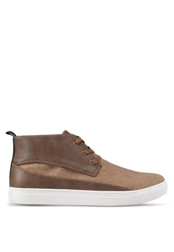 JAXON brown Mixed Materials Linen High Top Sneakers 003F6SHCC56D9BGS_1
