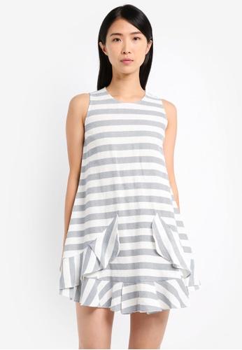 ZALORA white and multi Sleeveless Ruffle Swing Dress 5FB83AAA4CEF85GS_1