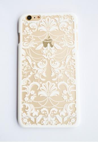 19a52d5179d Fancy Cellphone Cases white Floral Damask Hard Transparent Case for iPhone  6 plus