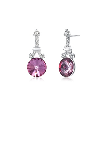 Glamorousky white 925 Sterling Silver Fashion Tower Rose Red Round Austrian Element Crystal Earrings 2A0A0AC88533BDGS_1