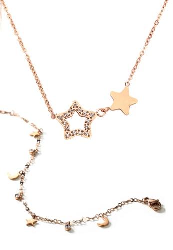 CELOVIS gold CELOVIS - Titania Twin-star Necklace Paired with Celestial Bracelet Jewellery Set B19E0ACA3465D2GS_1