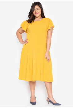 c112f94543a0c Ashley Collection Plus yellow Plus Size Flare Sleeves Skater Dress  E4183AA6BAC645GS 1