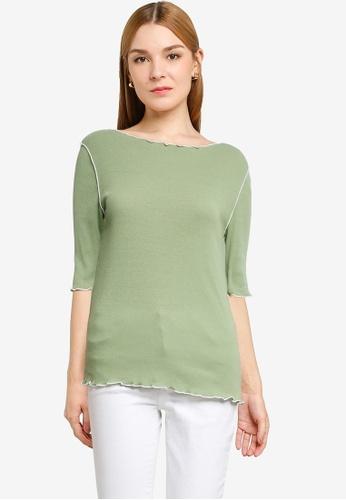 LOWRYS FARM green Contrast Detail Knit Top F9AA5AADBAA12AGS_1