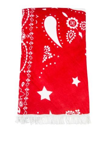 流蘇圓形印花沙灘巾, 飾品zalora 心得配件, 飾品配件