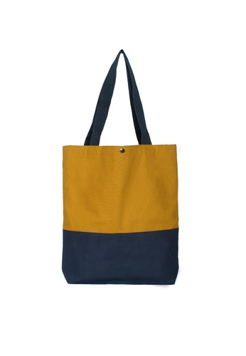 GreyPlus blue and multi Mustard Navy Basic Tote Bag GR720AC88IWDSG_1