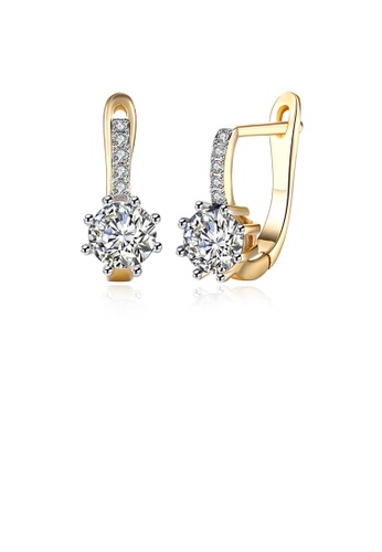 Glamorousky white Fashion Elegant Plated Champagne Gold Geometric Round Cubic Zirconia Earrings B381AAC834608AGS_1