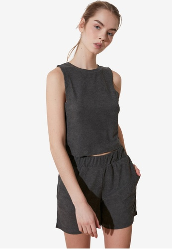 Trendyol black 2-Piece Knit Tank Top and Shorts Set 8D57FAA28C5711GS_1