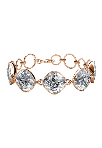 LOVE AND LIFE gold Love & Life Squarish Quin Bracelet (Rose Gold Crystal) embellished with Crystals from Swarovski D4FE4ACFB8ACFEGS_1