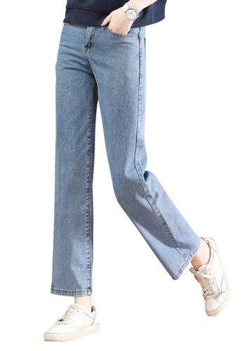 A-IN GIRLS blue Elastic Waist Wide-Leg Jeans 7ED8EAA36CB1E8GS_1