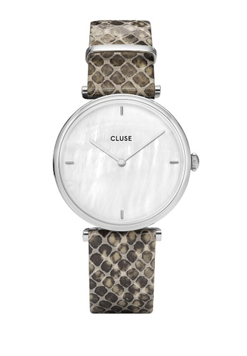 CLUSE silver Triomphe Silver White Pearl/Soft Grey Python Watch D8D30ACC47FF51GS_1