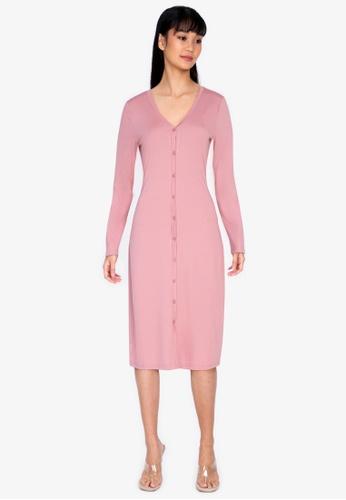 ZALORA BASICS pink Jersey Button Down Dress 2C4C7AA741DEE5GS_1