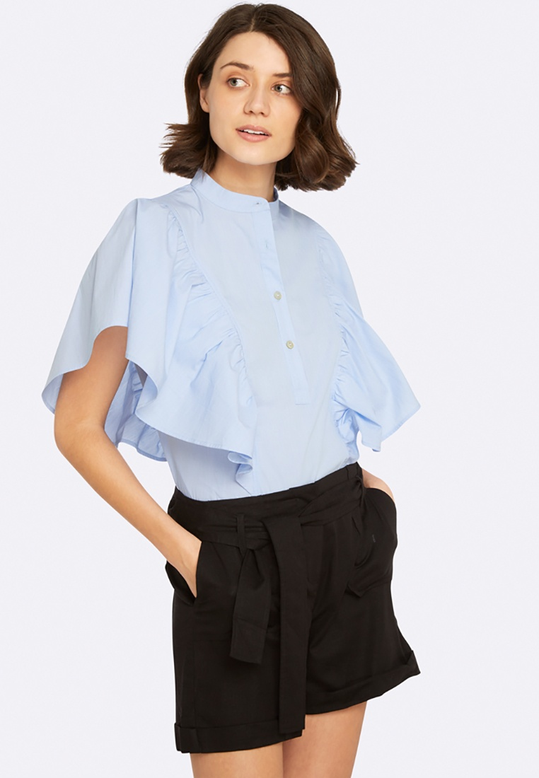 Ruffle Bronte Oxford Blouse Striped Blue wEqAvxnq1O