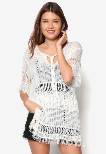 流蘇針織長版短袖上衣, 服zalora時尚購物網的koumi koumi飾, 服飾