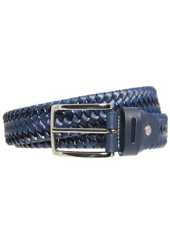 72 SMALLDIVE blue 34 mm Leather Elastic Weave Belt Blue 67D1FAC65DD133GS_1