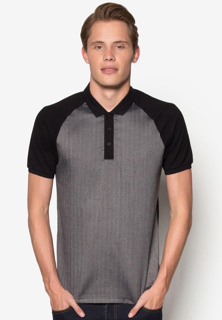 Herringbone Raglan Knit Polo Shirt