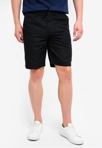 Burton Menswear London 黑色 抽繩休閒短褲 AFAFAAAB614F06GS_1