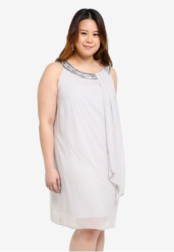 Dorothy Perkins grey Billie & Blossoms Plus Size Grey Trapeze Dress 833C4AA50C0399GS_1
