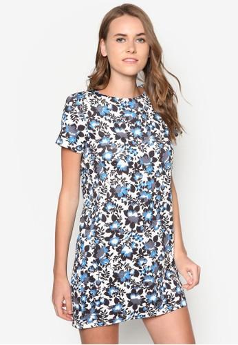 印花短袖直zalora 內衣筒洋裝, 服飾, 洋裝