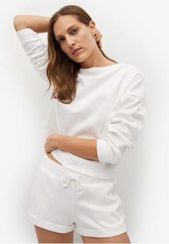 Mango beige Textured Cotton-Blend Sweater ED9EFAAE9F5425GS_1